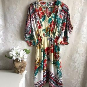 Umgee USA Boho Floral Dress Flutter Sleeve S NWT